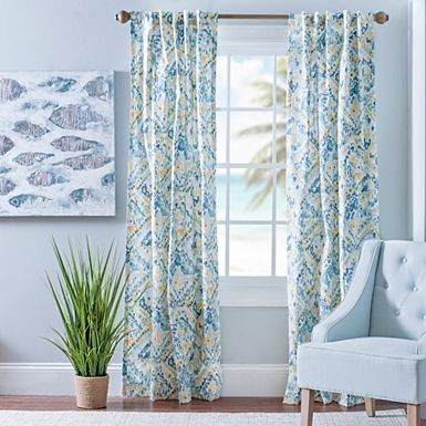 Blue and yellow ashlyn curtain panel set 84 in