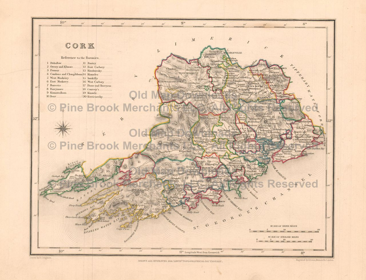 Map Of Cork County Ireland.Pin By Pine Brook Antique Maps Vintage Antique Map Decor And Gifts