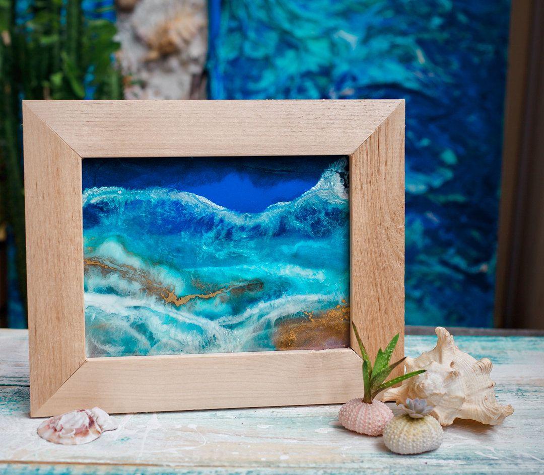 Nautical Wall Art Original Framed Painting Sea Painting Ocean