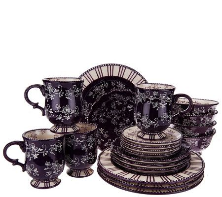 Temp Tations 20 Piece Floral Lace Service For 4 Dinnerware