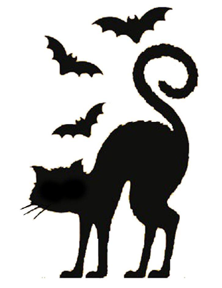 Bats and Cat Pumpkin Stencil … | Decals | Pinte…