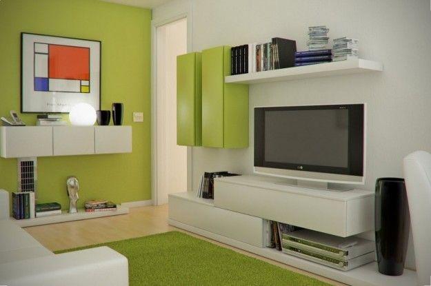 Colori per interni piccoli - Salotto con pareti e arredi verde acido ...
