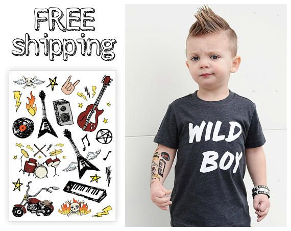 Rock\'n\'Roll kids temporary tattoos set. Rock music style kids ...