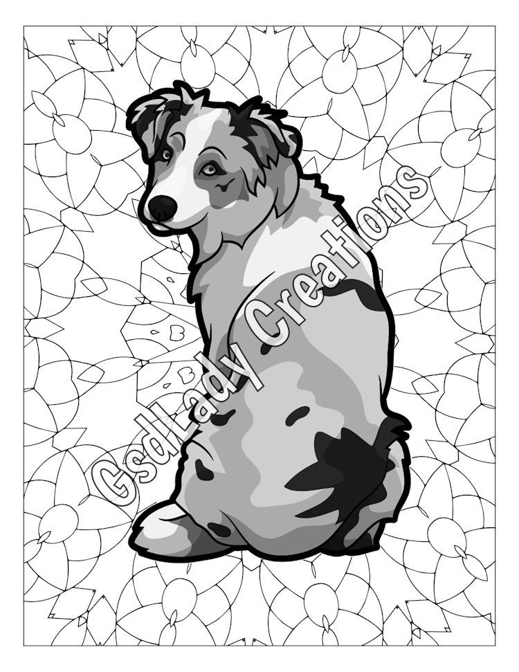 Dog Art Greyscale Coloring Page Australian Shepherd Dog Coloring Page Coloring Sheet Animal Drawing Digital Art Animal Drawings Dog Coloring Page Dog Art