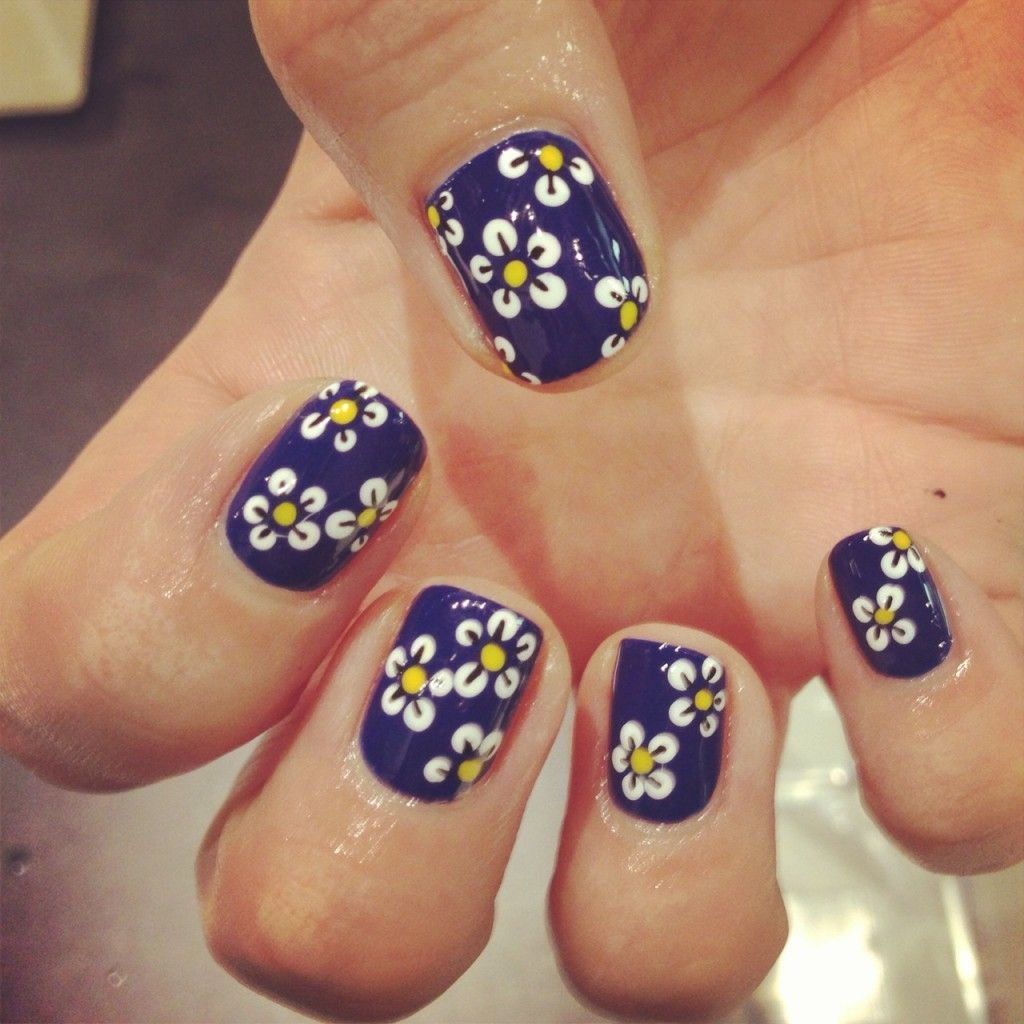 cute blue flower nail arts - http://69hdwallpapers.com/cute-blue ...