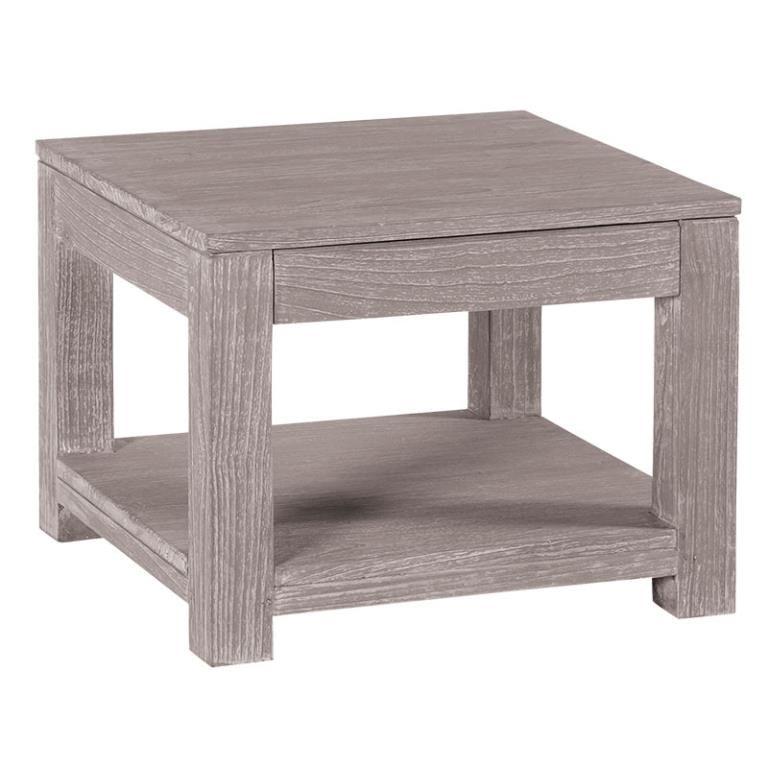 Table Basse Carree Moderne Bois Gris Taupe 1 Tiroir