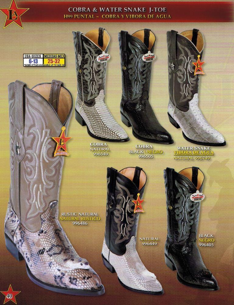 0b9f3f61417 Los Altos Men's J Toe Genuine Cobra w/ Head/Water Snake Cowboy ...