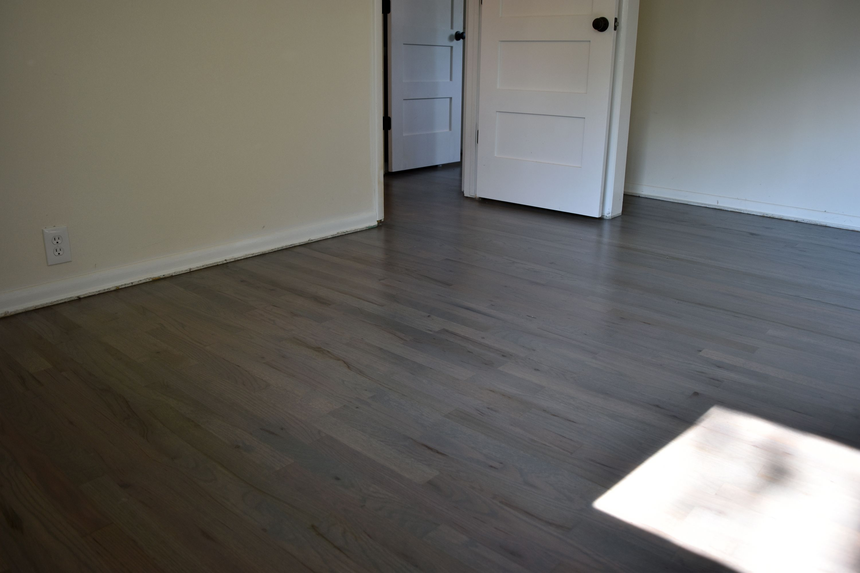 Red Oak wood floors Stained with Bona Gray