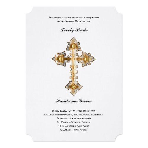 catholic wedding invitation gold cross catholic wedding invitation