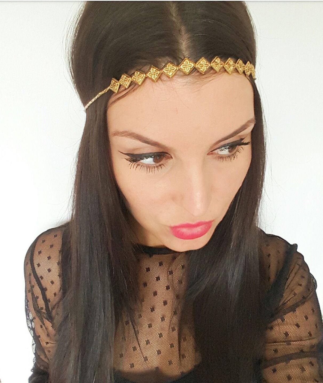 Headband gold boho chic, hippie chic headband Headband