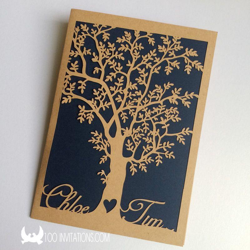 custom laser cut bride and groom's name tree pocket wedding,