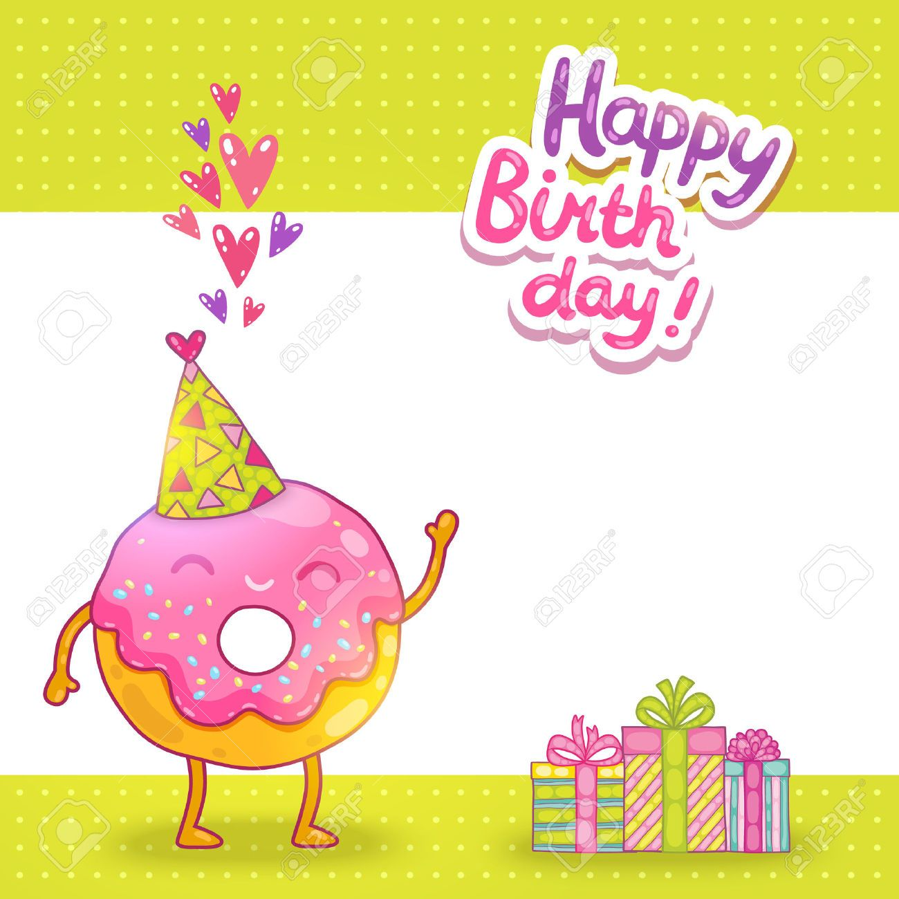 Vector Happy Birthday card background with cute donut Vector – Happy Birthday Card Cute