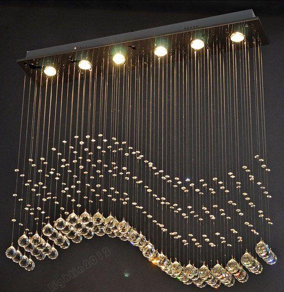 New Wave Crystal Pendant Light Ceiling Lamp Lighting Rain Drop