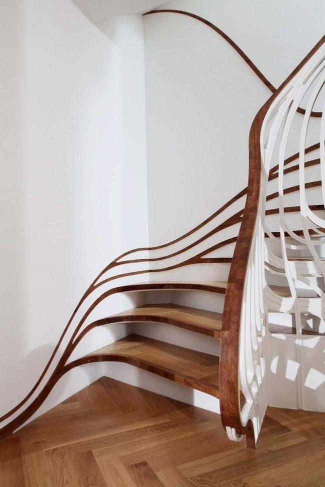Wohnung Innenausbau-Holzboden Parkett Treppe Design Möbel - holz treppe design atmos studio