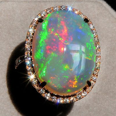 14.78CT Natural Opal 18K Rose Gold Diamond Exquisite Rarely Seen Ring COL7   eBay