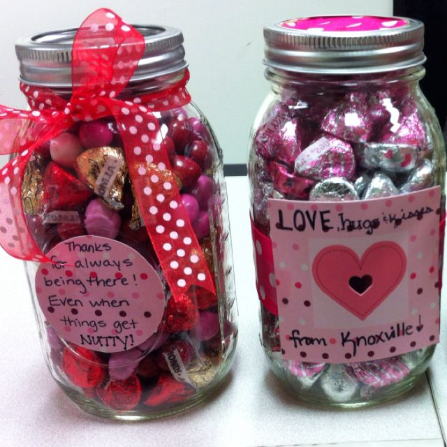 Mason Jar Valentines Left Jar For Mom Filled With Nut Candy
