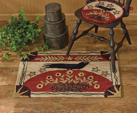 Everything Primitives - Folk Crow Hand-Hooked Rug, $59.95 (http://www.everythingprimitives.com/folk-crow-hand-hooked-rug/)