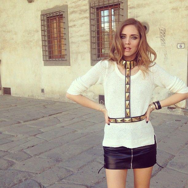 giuseppezanotti collar and saintlaurent leather skirt