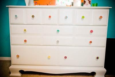 White With Colorful Drawer Pulls Or Paint Polka Dots That Match The Rest Of