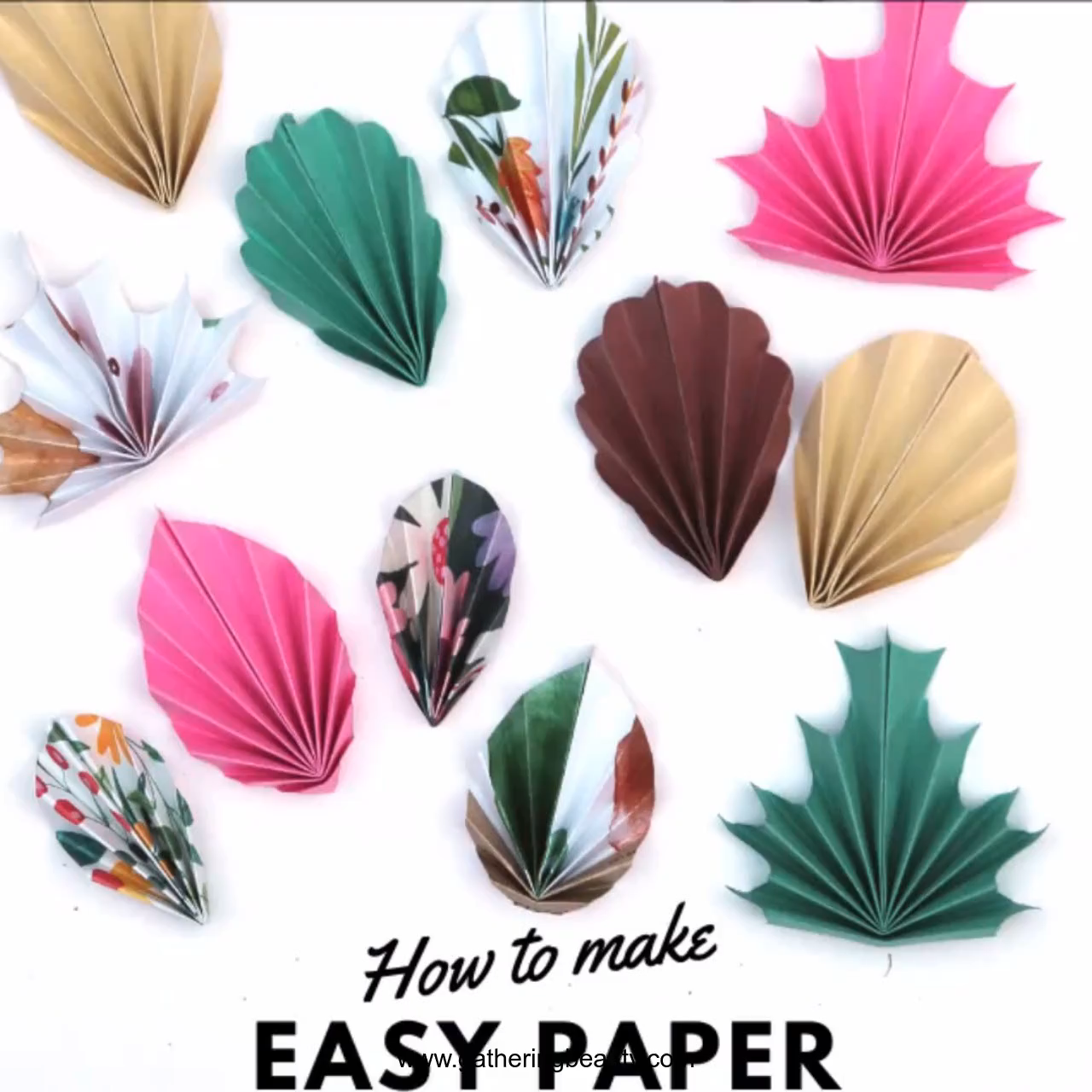 HOW TO MAKE FOUR EASY DIY PAPER LEAVES - FREE PRINTABLE