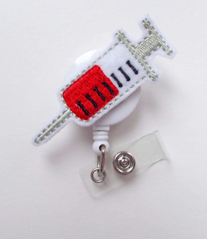 Syringe - Retractable Badge Reel - Name Badge Holder - Badge