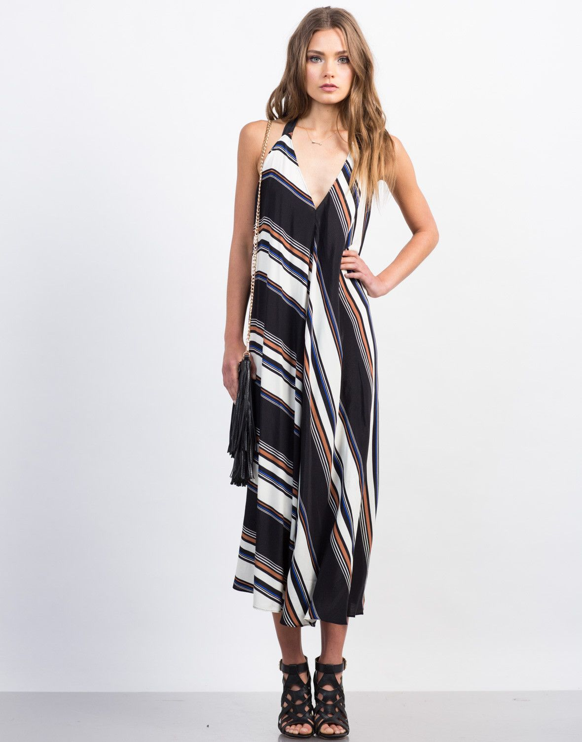 81b93b75b80 This Multi-Striped Maxi Dress is made easy-to-wear to get that instant  stylish look. Looks amazing paired with a pair of black sandals