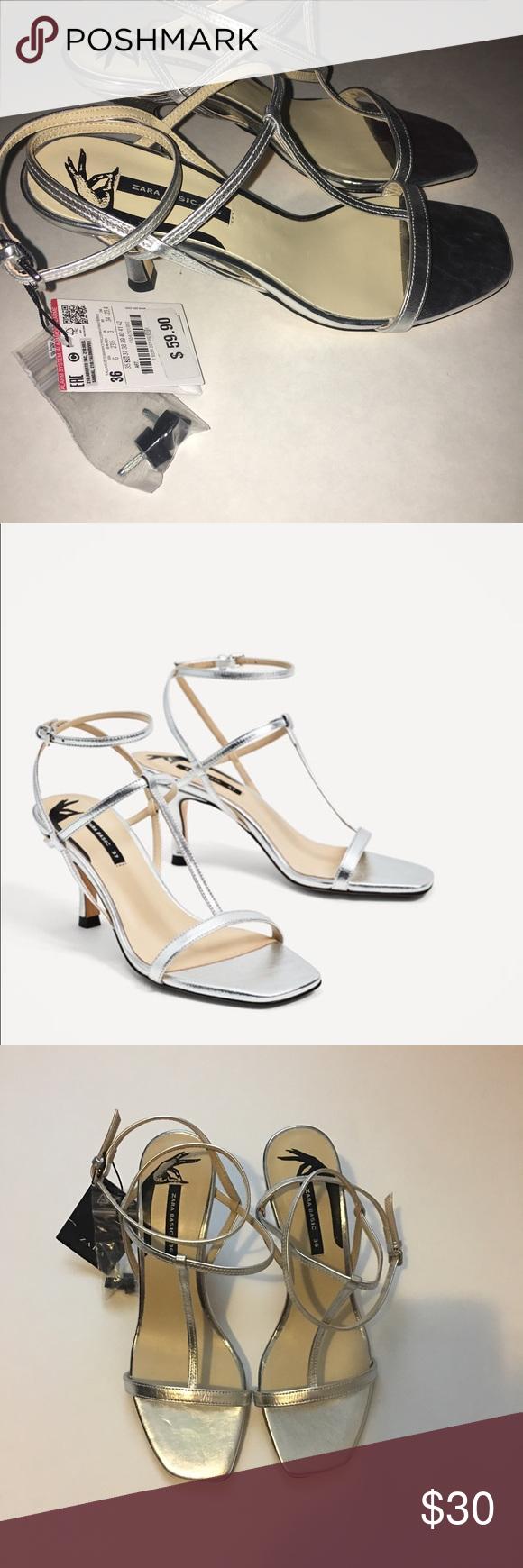Zara Silver Kitten Heel T Strap Sandal Silver Kitten Heels Heels T Strap Sandals