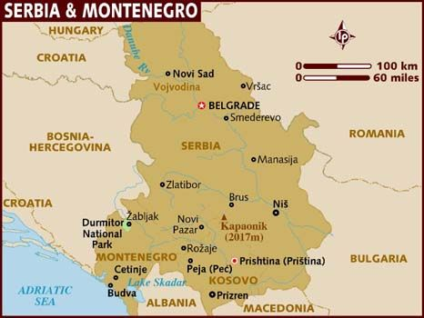 Serbia Montenegro Map Of Serbia Montenegro Serbia And
