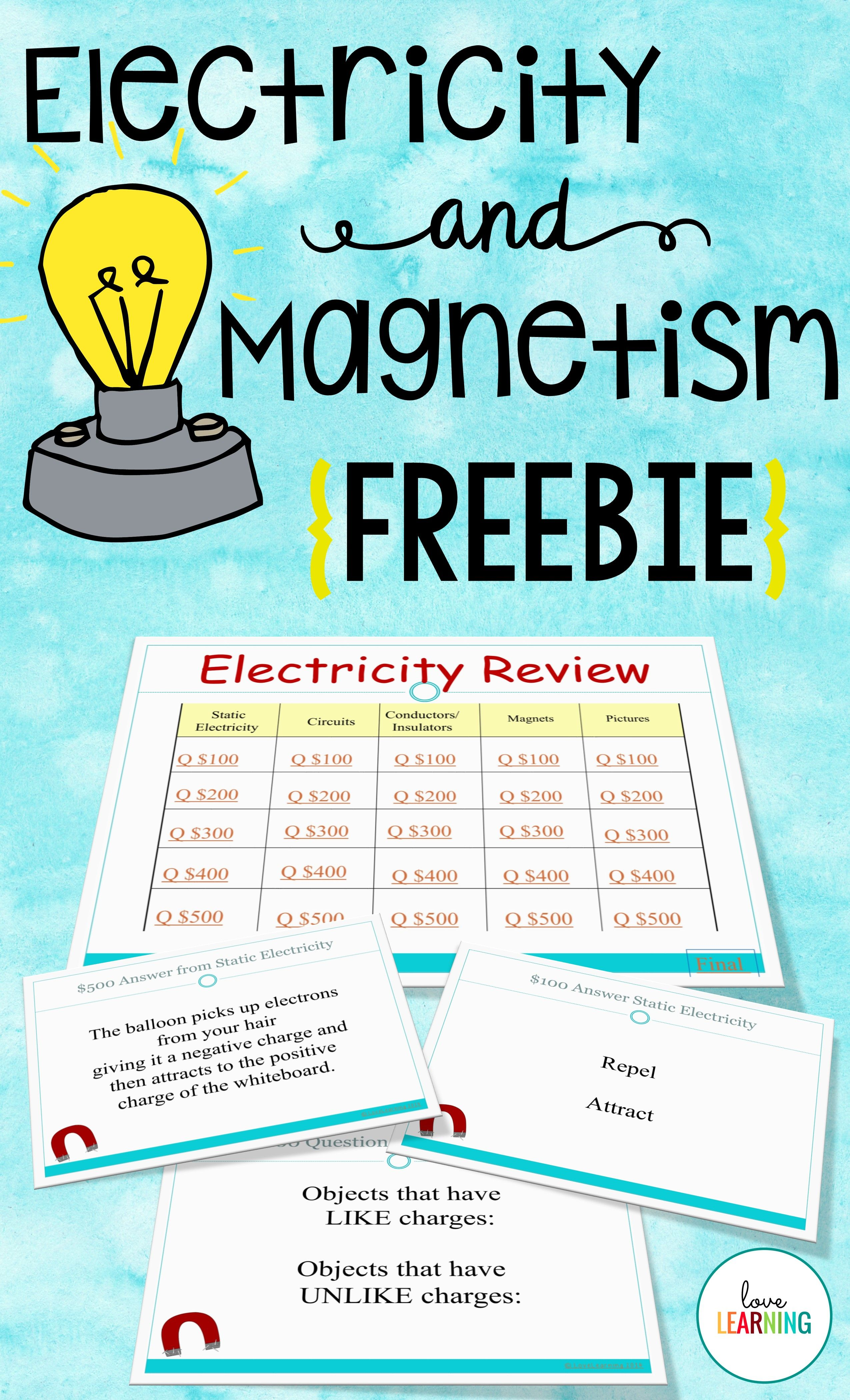Electricity And Magnetism Review Game Freebie