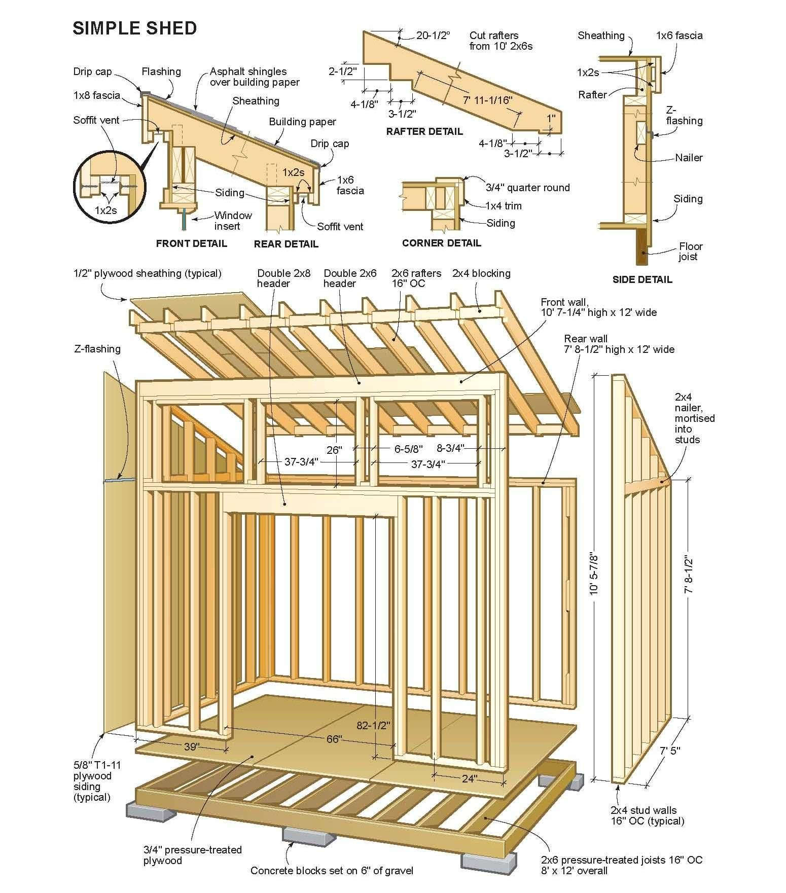 medium resolution of wooden shed plans