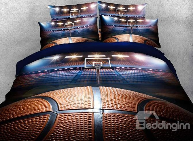3D Shooting A Basketball In Empty Court Printed 4 Piece Bedding Sets