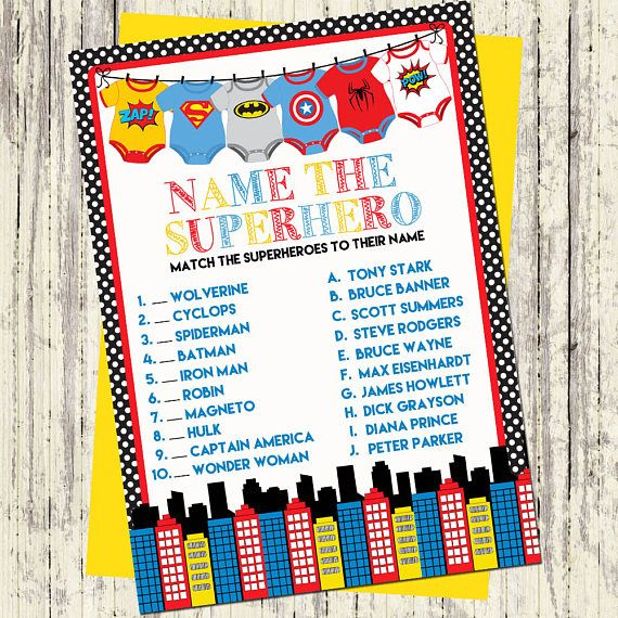 Instant Download Printable Baby Shower Games Baby Shower Etsy In 2021 Superhero Baby Shower Superhero Baby Shower Invitations Marvel Baby Shower