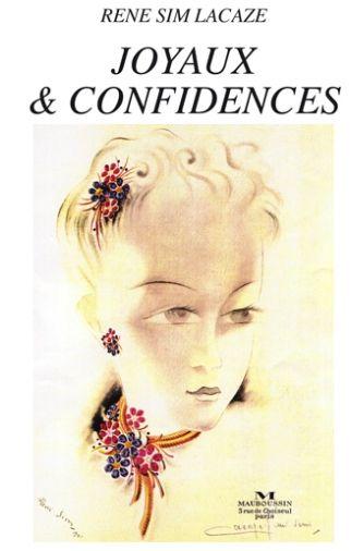 Titelbild der unveröffentlichsten Memoiren von René Sim Lacaze mit einem von ihm angefertigten Designentwürfe für Schmuckstücke mit Blumenmotiven
