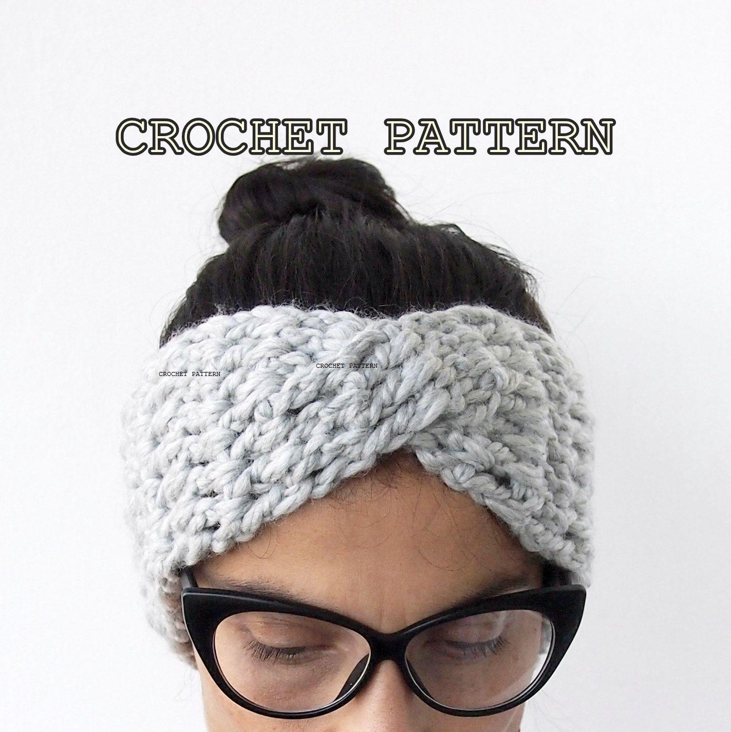 Crochet Pattern turban headband chunky hat twist headwrap women ...