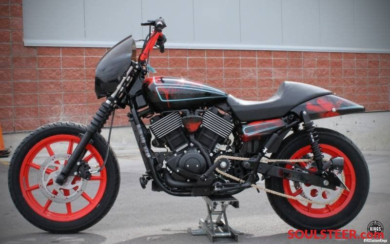 Hd Custom King Harley Davidson Street 750 Customized In Black Red Paint Soulsteer Harley Davidson Street Street 750 Harley Davidson