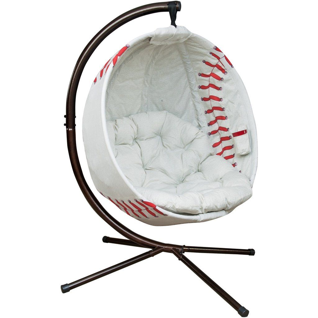 Flower house hanging baseball chair with cushion hanging