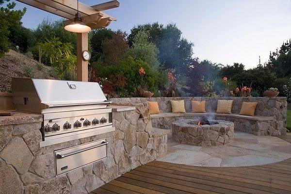 Built In Stainless Grill Outdoor Kitchen Michelle Derviss Landscape Design Novato Ca Backyard Bbq Pit Backyard Fire Fire Pit Bbq