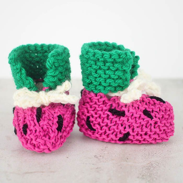 Free Knitting Pattern For Watermelon Baby Booties Very Easy To Make