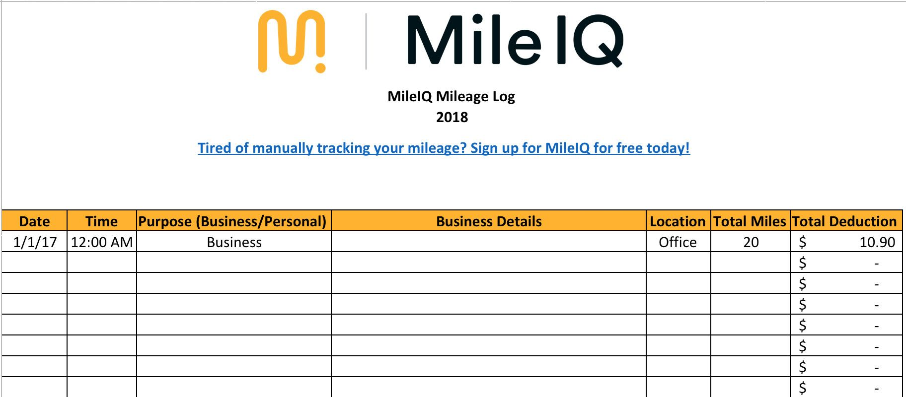 Mileage Log Template For Self Employed Popular Free Mileage Log