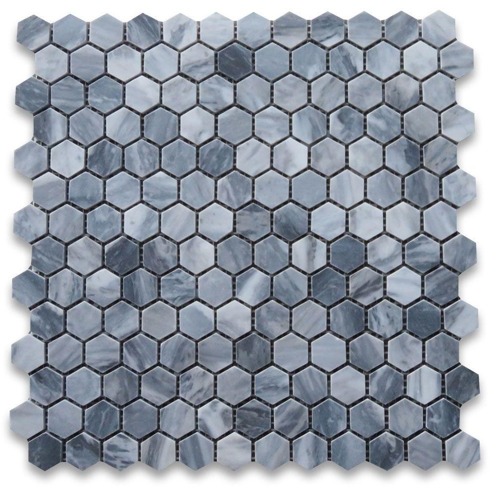 Bardiglio Gray 1 Inch Hexagon Mosaic Tile Honed Marble From Italy Hexagonal Mosaic Hexagon Mosaic Tile Shower Floor Tile