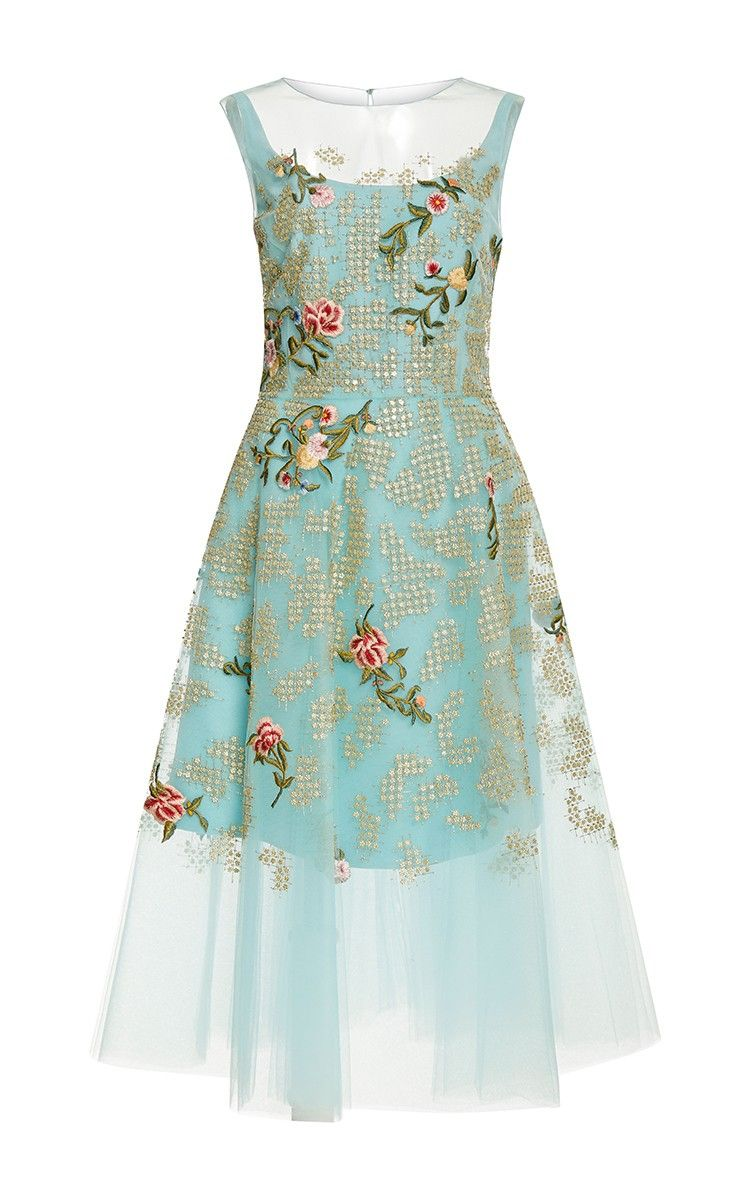Embroidered Tulle Dress by Oscar de la Renta Now Available on Moda Operandi