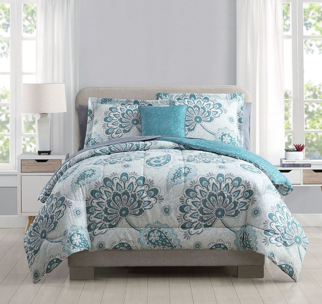 8 Piece Westerly Teal White Comforter Set With Sheets Teal