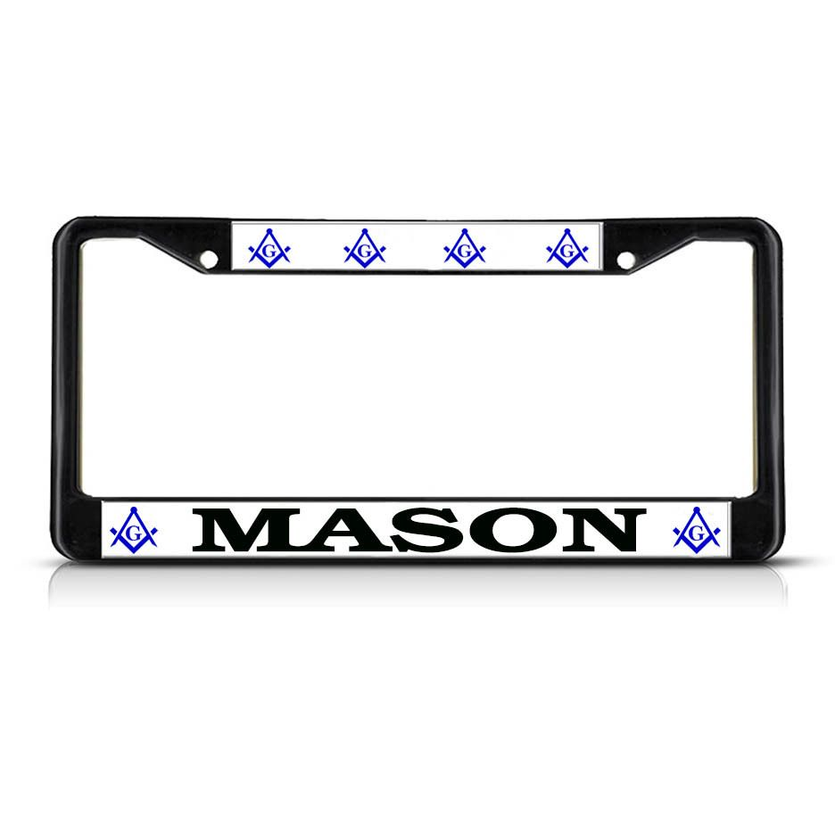 License Plate Frame Mall - MASON MOSON  Black Heavy Duty Metal License Plate Frame, $17.99 (http://licenseplateframemall.com/mason-moson-black-heavy-duty-metal-license-plate-frame/)