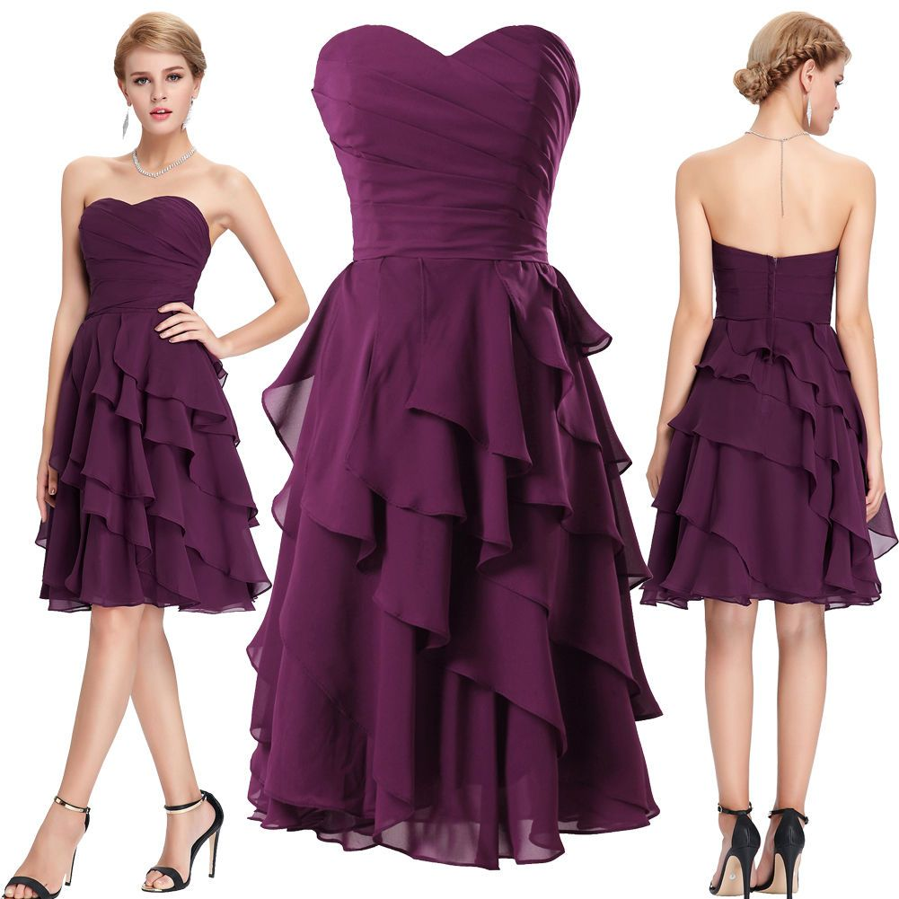 Karin Sweetheart Knee-Length Tiered Chiffon Cocktail Evening Party ...