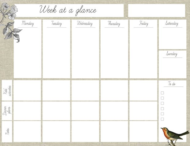 Oh the lovely things Free Printable Week At A Glance Planner – Free Printable Weekly Planner