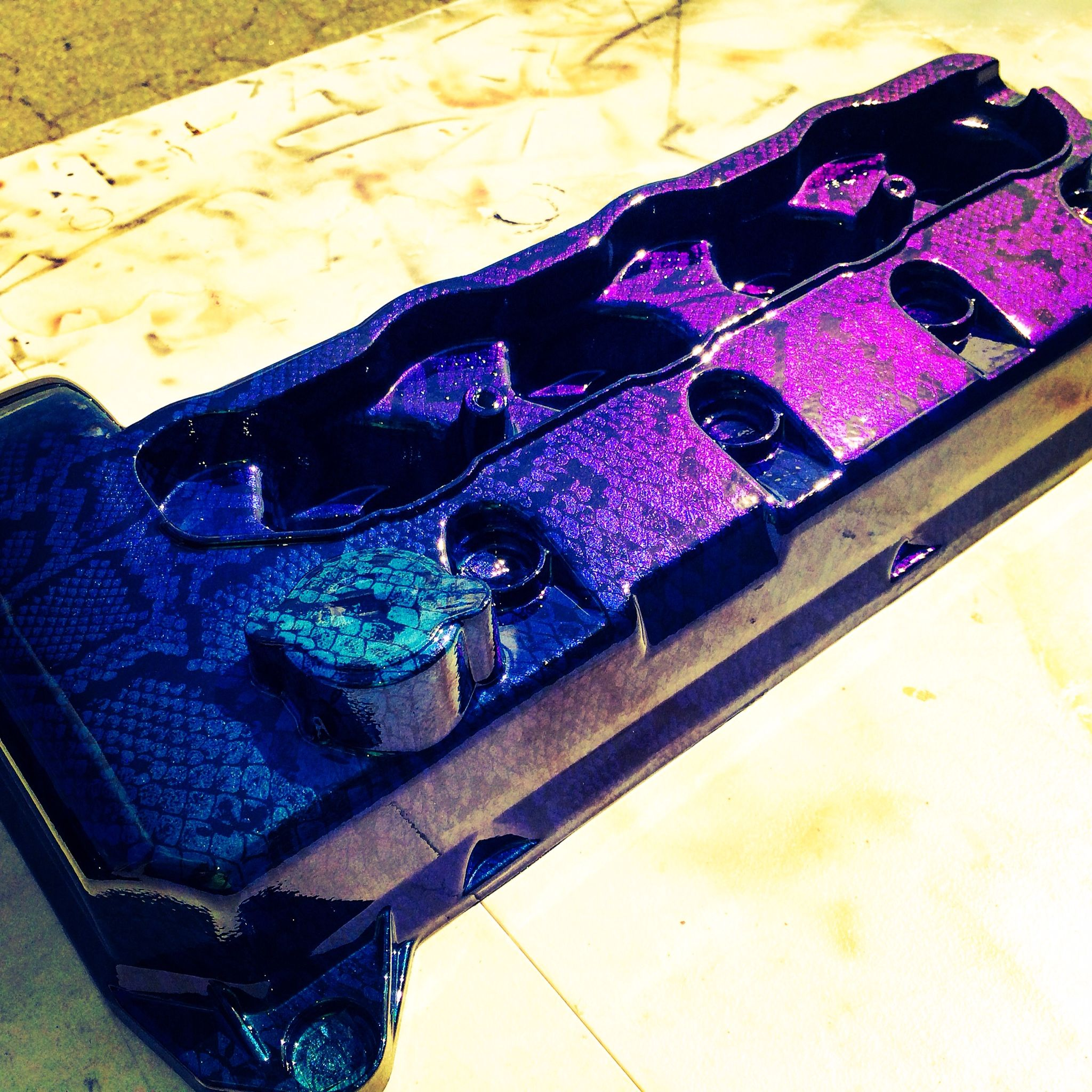 Valve cover hydro dipped and finished with a mistic chrome ...