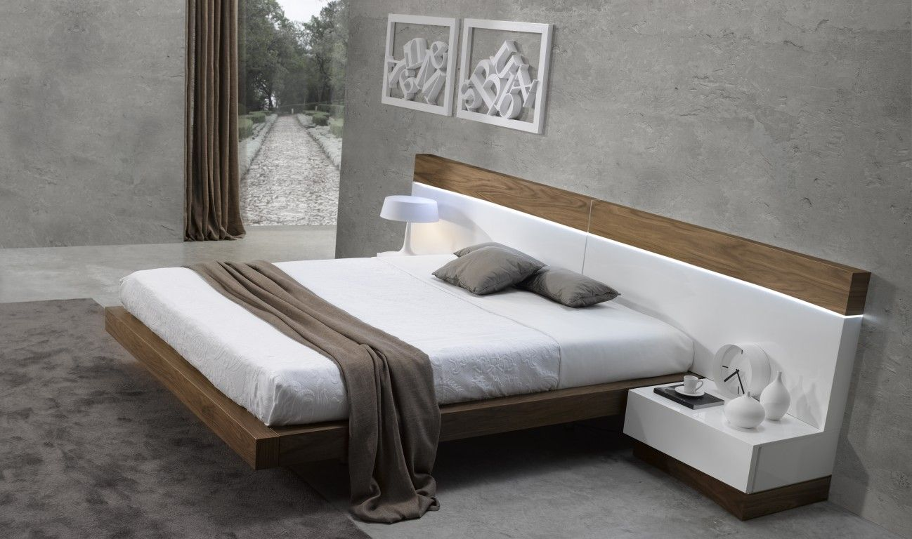 Abrantes contemporary queen size #bed in walnut white