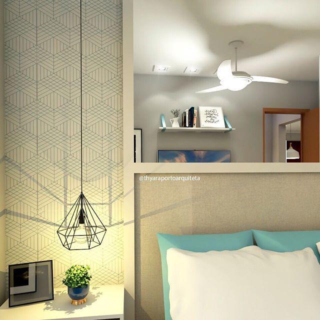 Olá, quarto com cores neutras. Encantada com esse papel de parede da @instahoused. 😍  ⠀⠀⠀⠀⠀⠀⠀⠀⠀  Quer ver mais deste quarto?  Que tal dicas para quartos pequenos?  Tô pensando em escrever um post sobre o assunto. 🤔 ⠀⠀⠀⠀⠀⠀⠀⠀⠀  #quartodecasal #quarto #bedroom #bedroomdecor #bythyaraporto #vrayforsketchup #grupojsmais