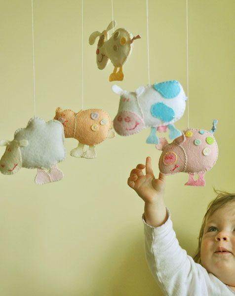 Baby crib happy farm mobile, kids room decor, cat, dog, sheep, cow, pig mobile, nursery mobile, wollen felt balls