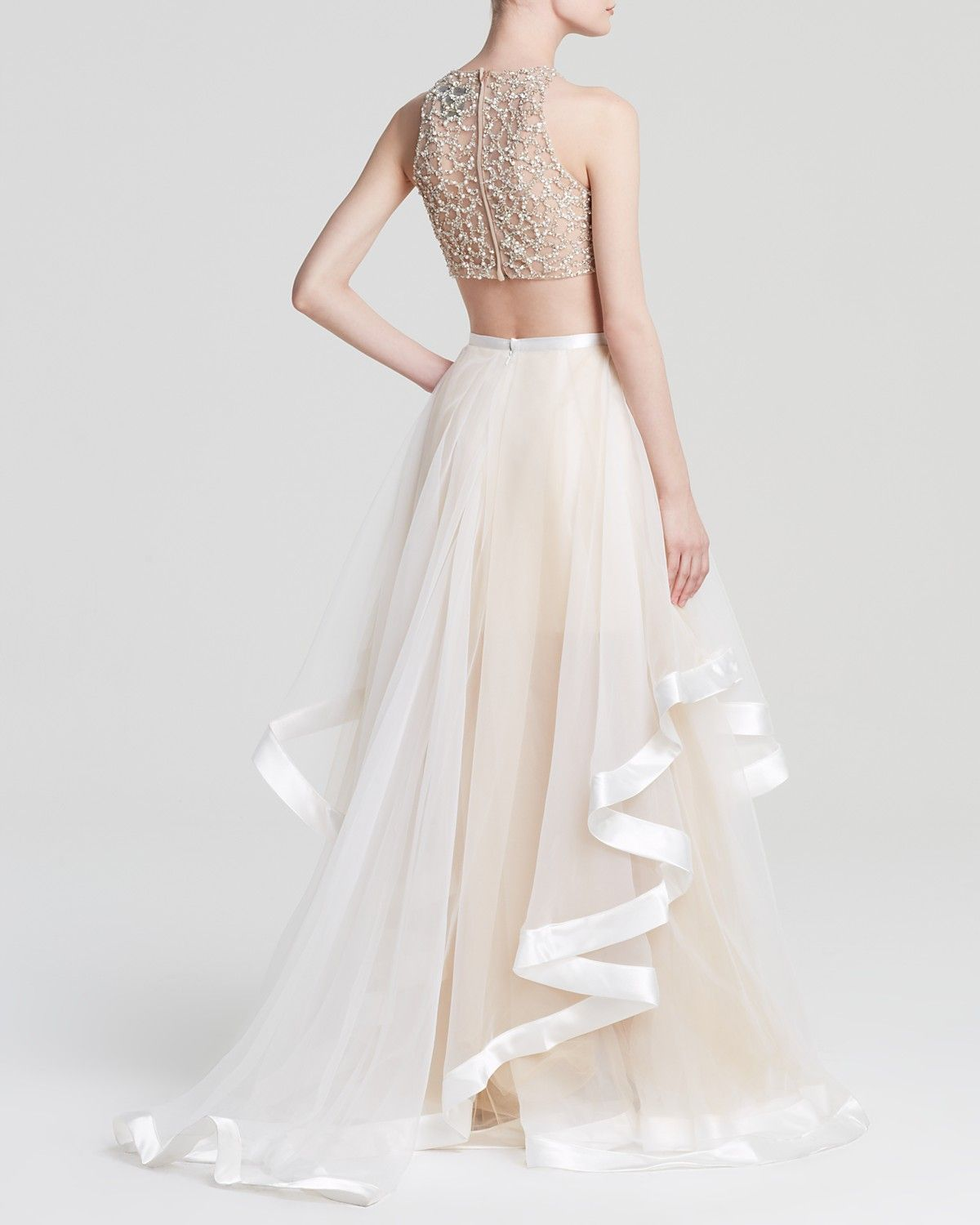 13218828d Terani Couture Gown - Beaded Crop Top & Tiered Sheer Tulle Skirt Two-Piece  | Bloomingdale's